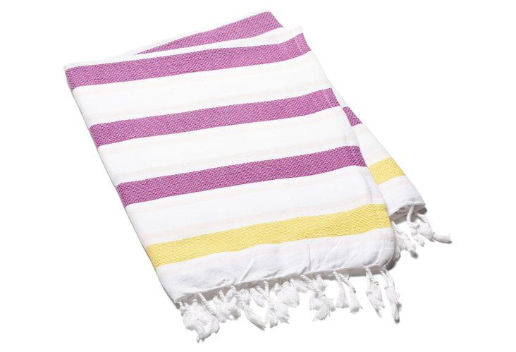 yellow and purple beach flags