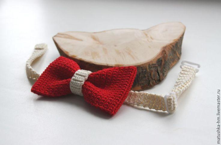 Купить Галстук-бабочка - ярко-красный, однотонный, бабочка, галстук-бабочка, яркая бабочка, knitting, bow tie, crochet,  knitting accessories