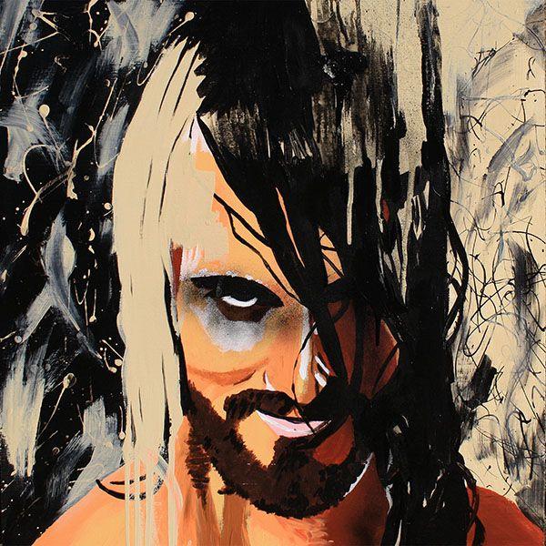 """Tyler Black aka Seth Rollins l Acrylic and spray on 24"""" x 24"""" wood"""