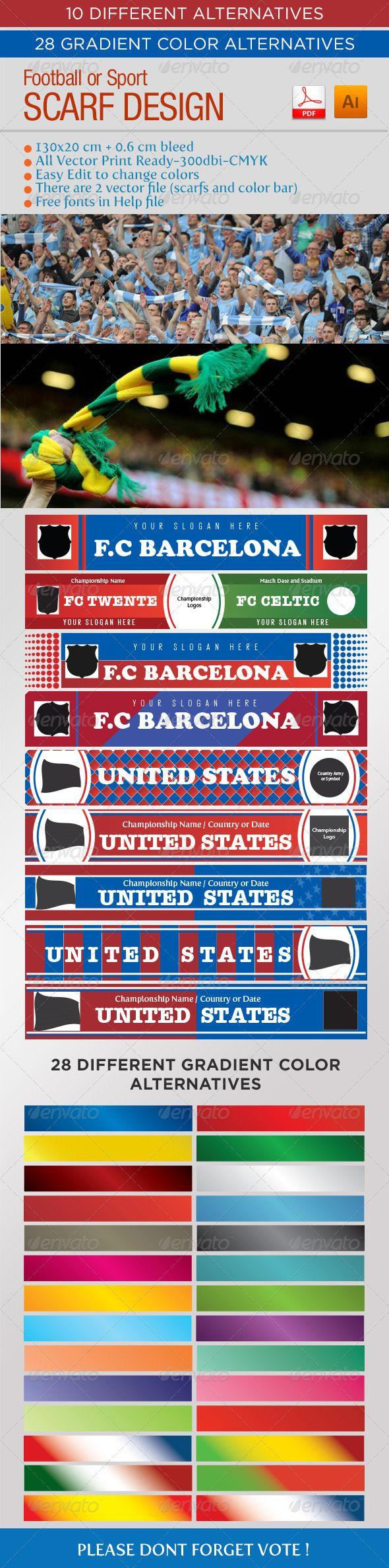 Football – Sport Scarf Design  #GraphicRiver               ITEM DESCRIPTION :   …