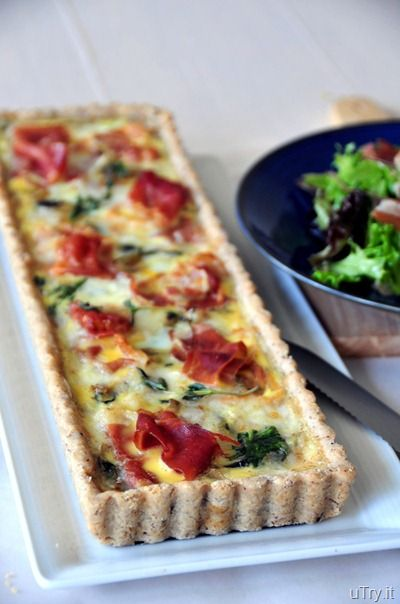 Spinach, Brie and Prosciutto Tart with Pecan Crust