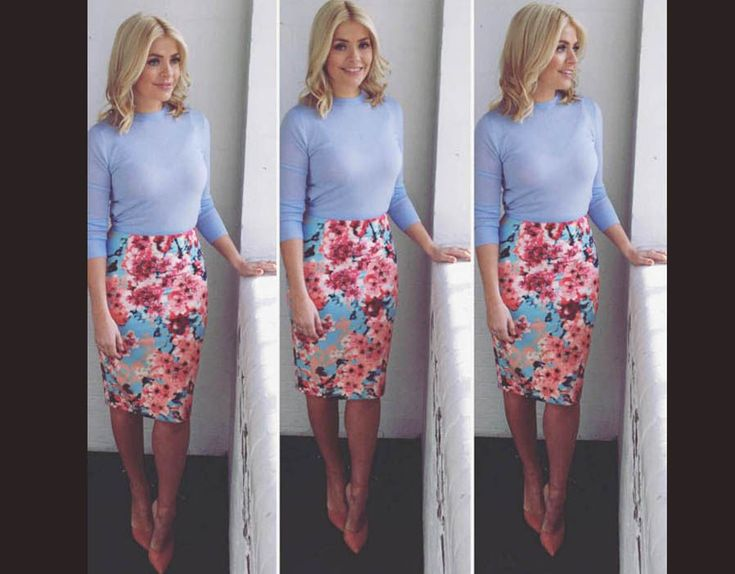 holly willoughby this morning | Holly Willoughby wears a floral skirt from Febb Wright Mason and blue ...