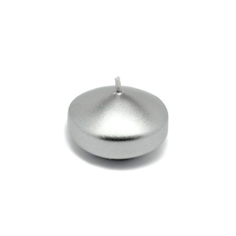 """1 3/4"""" Metallic Silver Floating Candles (24pc/Box) by Zest Candle. $14.94. Prices are per box of 24 candles; Burn Time: 4 Hours; Size: 1.75"""" Diameter x 1"""" H. 100% Handpoured  Small round floaters are a must for events such as housewarmings and weddings. Illuminate these floaters on waters to maximize the atmosphere. These unscented floating candle discs burn exceptionally long and have solid color all the way through.  PLEASE NOTE: Actual color may differ from the color shown in..."""