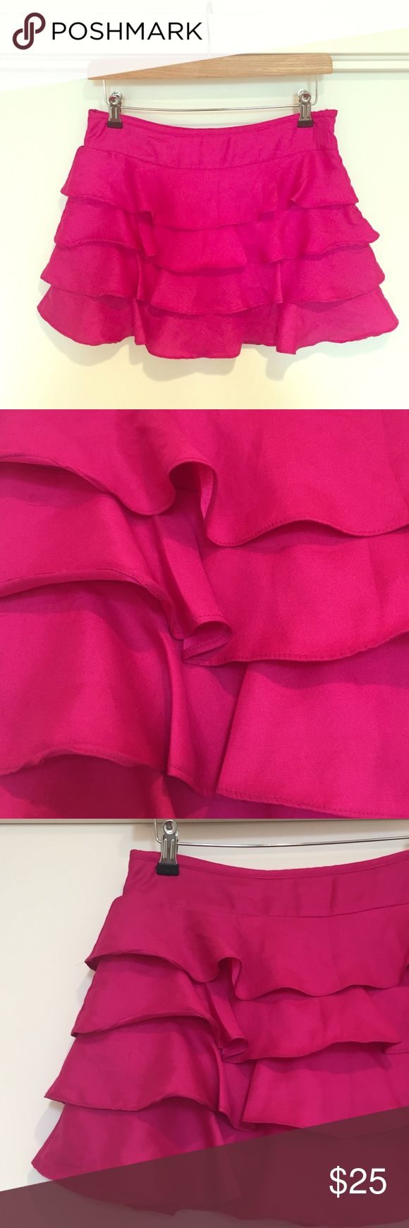 Topshop Satin fuchsia mini Layered fuchsia pink Topshop mini in ra-ra style and layered. I'm 5'4 and this comes mid thigh. Worn a few times, in good overall condition Topshop Skirts Midi