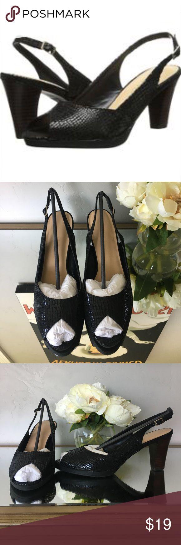 "Bella Vita Liset pump Bella Vita Liset peep toe, sling back pump in black leather print. excellent condition, worn once. 3"" heel, 1/2"" platform. Bella Vita Shoes Heels"