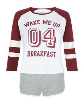 Pyjama ado bordeaux à imprimé Wake Me Up 04 Breakfast | New Look