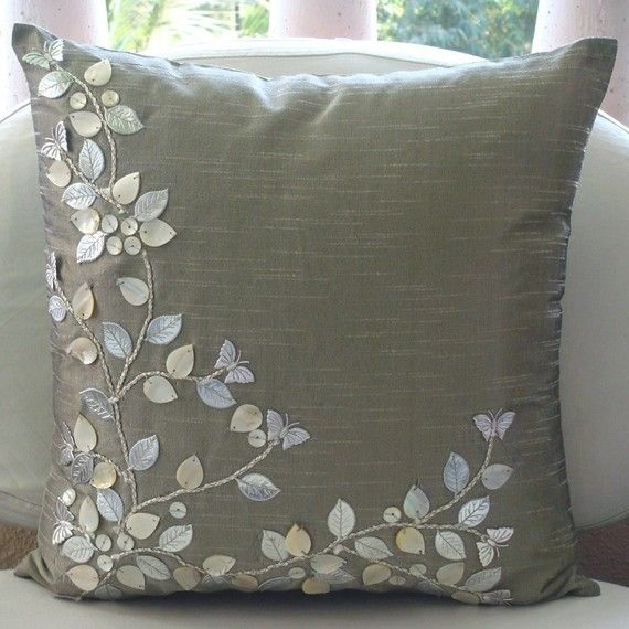 Silver Beauty - Throw Pillow Covers - 16x16 Inches Silk Pillow Cover with Mother of Pearl and Leather Embroidery
