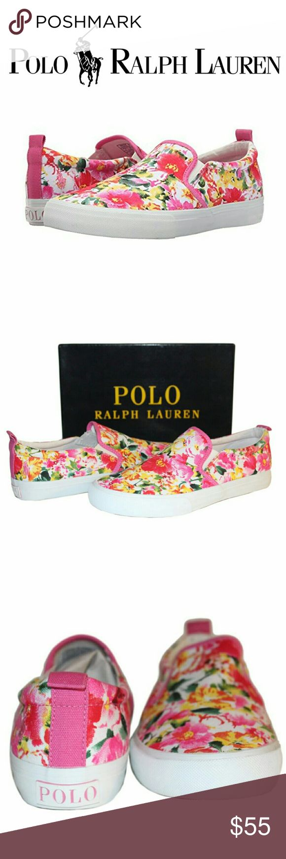 Polo Ralph Lauren Pink Flower Fashion Sneakers 👟 Polo Ralph Lauren Kids Carlee Twin Gore Floral Fashion Sneaker/Loafer/Slip-on.  ✔Color: pink, white.   ✔Material: cotton/ rubber outsole   ✔Size: Youth US 6M, Women's US 7.5-8M (Yes, I personally own the same shoes and I absolutely love them).   ✔Condition: Brand New w/ box, manufacturer packaged and sealed. Polo by Ralph Lauren Shoes