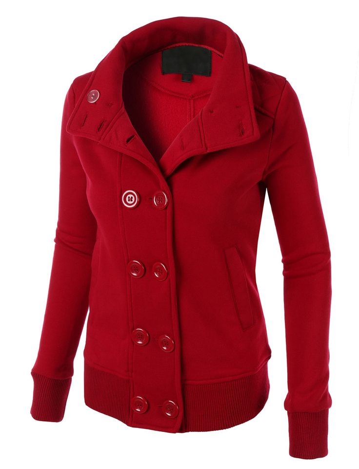 Womens Fleece Double Breasted Pea Coat with Hood