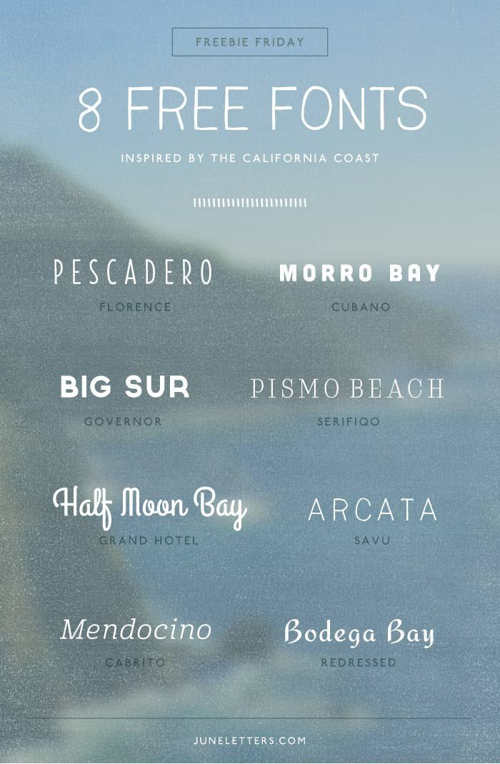 Freebie Friday: 8 Free Fonts Inspired by the California Coast — June Letters Design | Curated pins by @4vector