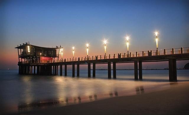 moyo uShaka Pier Bar .. lighting up the Pier -- photo by Jenna Finch