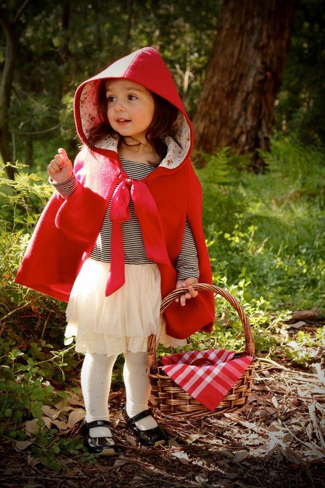 Oobi Little Red Riding Hood Cape worn over Oobi Claudia Dress #oobibaby
