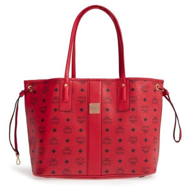 Women's Mcm Medium Liz Reversible Shopper (1,895 PEN) ❤ liked on Polyvore featuring bags, handbags, tote bags, ruby red, mcm handbags, drawstring tote, reversible tote bags, shopping bag and structured tote bag