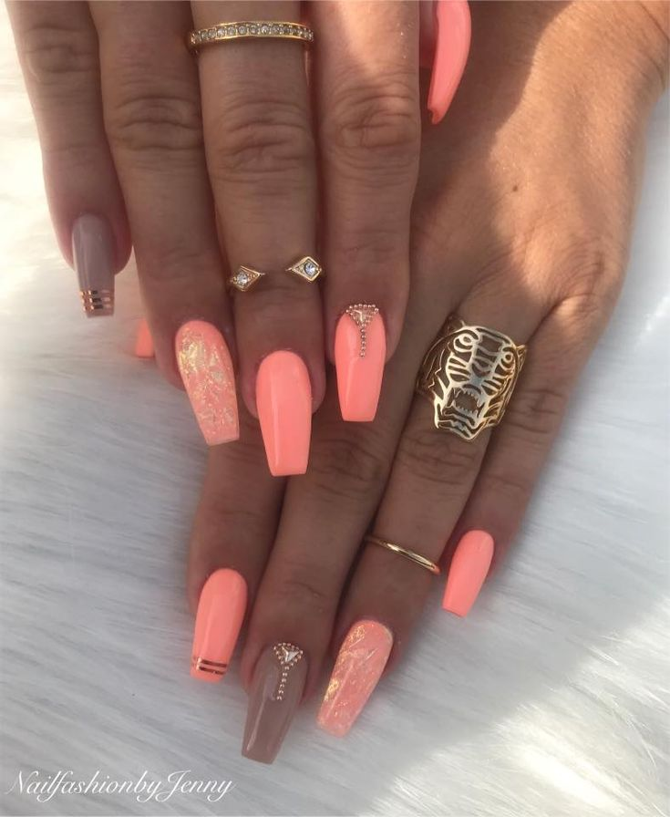 Coral & taupe coffin acrylics