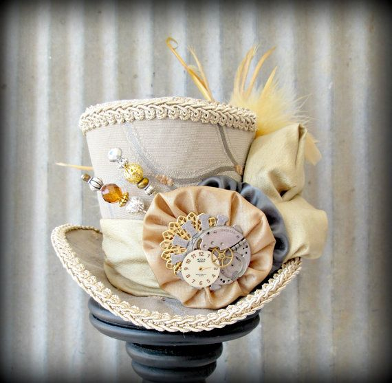 Mini Top Hat in Steel Gray and Butterscotch Gold, Alice in Wonderland Mini Top Hat, Tea Party Hat, Steampunk Hat, Mad Hatter Hat, Bridal on Etsy, $50.00