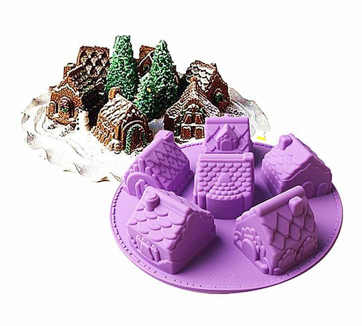 Christmas village (6 houses) silicone cake mold