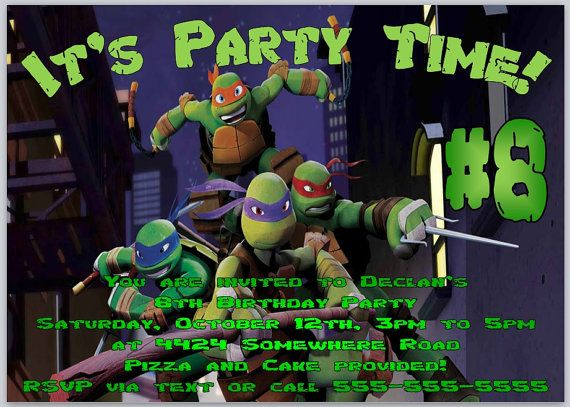 Mutant Ninja Turtles Birthday Invitation Template Flat