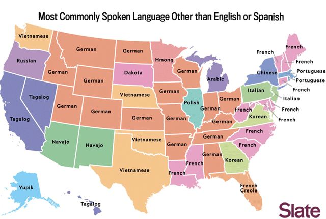 The Most Commonly Spoken Language in Each State Besides English and Spanish