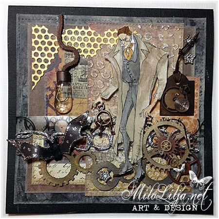 "Created by MiloLilja - Sweden • Instagram: milolilja • Pinterest: milolilja • Facebook: ""Milo Lilja - Art & Design"" • #scrapbooking #crafting #art #milolilja #cardmaking #paperart #shabbychic #artist #vintage #handmade #masculineart #simplyb #simplybstamps"
