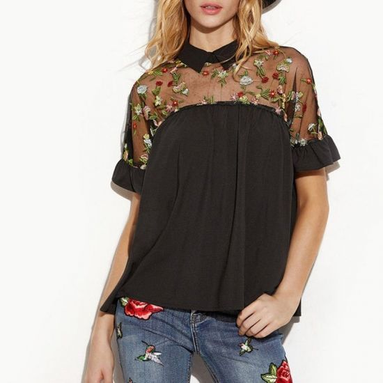 【大特価】ブラック 花柄 フラワー シースルー 刺繍デザイン 襟付き ブラウス 半袖 シャツ トップス インポート 通販