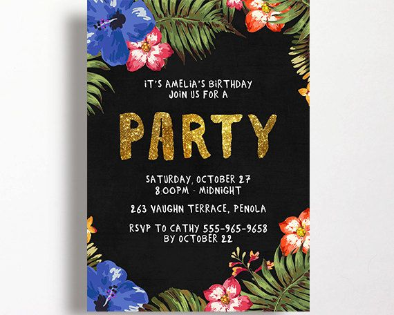 Tropical Invitation Gold Glitter Palm Printable Birthday