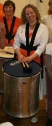 Salsarah and her Surdo drum (a Musician in Sambuka, Samba Band) www.sambuka.co.uk