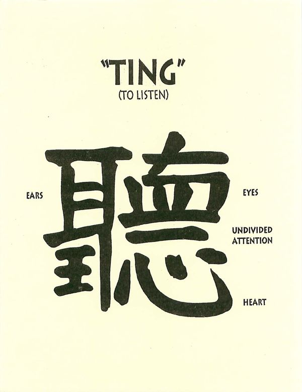 "Ting, the chinese character for ""to listen"""