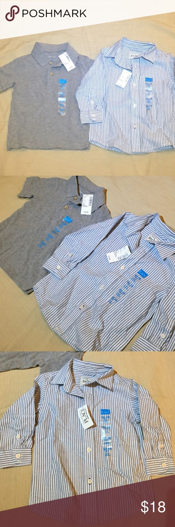 NWT children's place polo tee shirt & button down 2 NWT classy classic shirts perfect for ur little one. a gray polo with some stretch in size 18-24 months and a blue- green striped button down in size 12- 18 months. The button down seems to run a bit big. Children's Place Shirts & Tops Polos