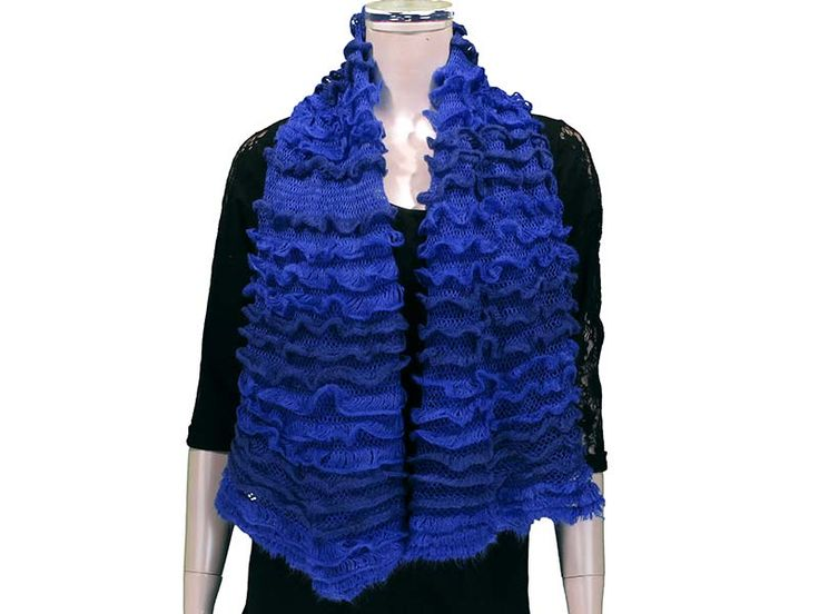 BlueThis Ruffled Tube Scarf can be worn as a shorty infinity, or as a long scarf. Ruffled layers provide extra softness and lightness to the scarf, with beautiful colours to match any outfit! Available in Black, White/Grey, Pink, Coral, Red, Mint, Royal.