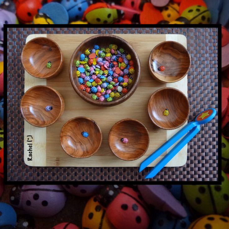 Super simple invitation to use fine motor skills to sort the colourful ladybirds…