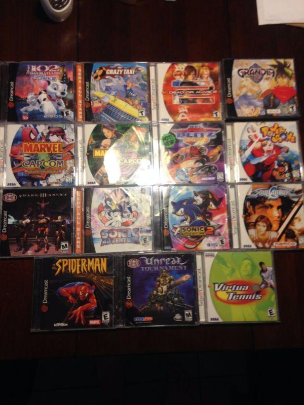 US Sega Dreamcast Lot  #retrogaming #HotDC  with Sonic Adventure 1 and 2 Power Stone Marvel Vs Capcom 1 and 2 Soul Calibur DOA2 Grandia etc.