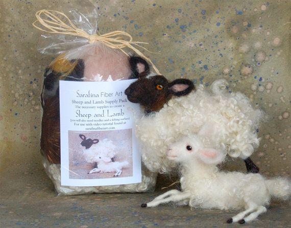 Sarafina Needle Felting Kit Sheep and Lamb Supply Pack to follow Sheep and Lamb Video Series
