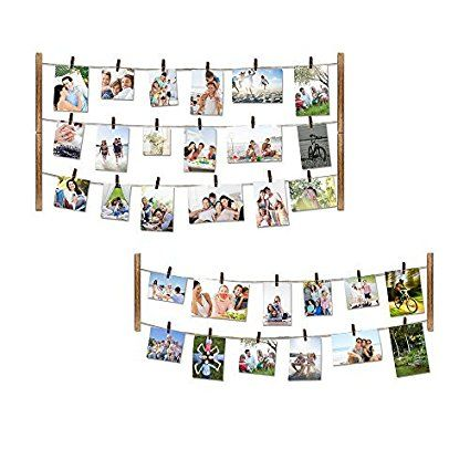 Amazon.com - Love-KANKEI Wood Picture Photo Frame for Wall Decor 26×29 inch - With 30 Clips & Ajustable Twines - Collage Artworks Prints Multi Pictures Organizer & Hanging Display Frames -