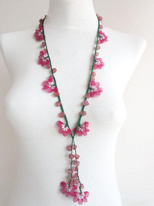 Crochet necklaceCrochet bead workcrochet oya by scarfnurlu on Etsy