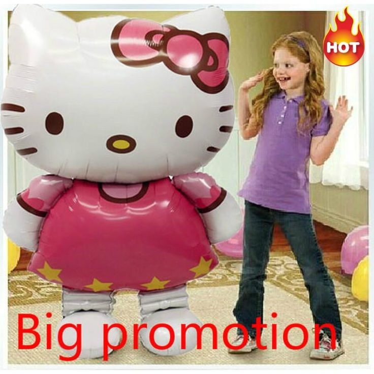 [Visit to Buy] Big promotion ballons large 116*66 Cm Hello Kitty Inflatable foil Balloon Cartoon mylar Baloes Party globos/Wedding Decorations. #Advertisement