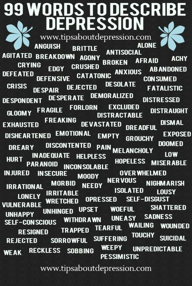 In honor of #WorldMentalHealthDay, here are some words you can use to describe your character when they are experiencing depression. #WritersRelief
