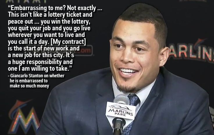 Giancarlo Stanton nails it when asked if he's embarrassed to make more in a day than most people make in a year. I didn't care before but now I'm a fan!