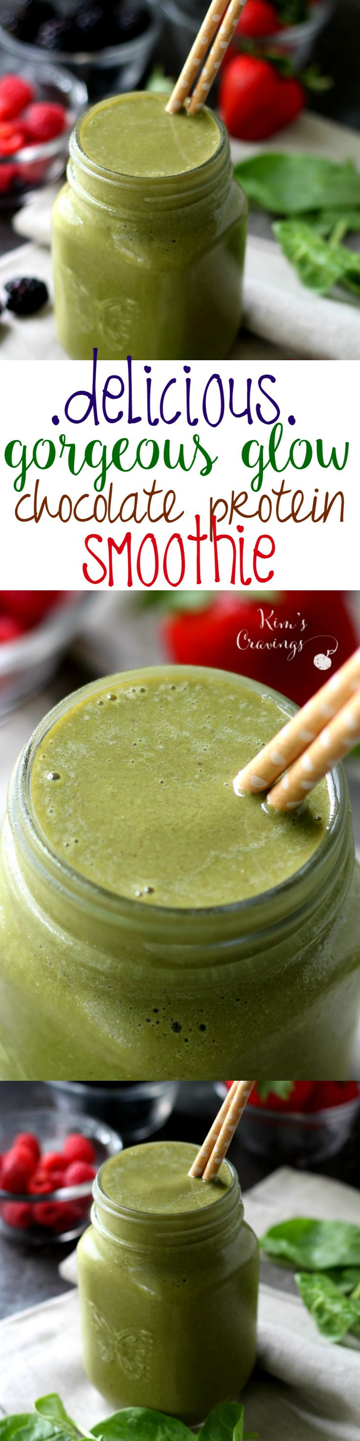 Gorgeous Glow Chocolate Protein Smoothie- a delicious blend of my favorite vegan, Non-GMO chocolate protein powder, unsweetened non-dairy milk, fresh baby spinach and naturally sweet frozen fruit- you'll be feeling the glow baby!