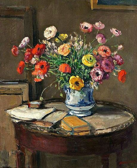 Albert André (French artist, 1869-1954) Flowers and Books on a Table