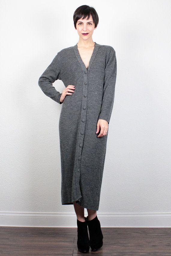 Vintage 90s Dress Charcoal Gray Sweater Dress Cardigan Midi Maxi Dress 1990s Dress V neck Jumper Dress Minimalist Soft Grunge Dress L Large by ShopTwitchVintage #vintage #etsy #90s #1990s #soft #grunge #softgrunge #normcore #cardigan #sweater #dress