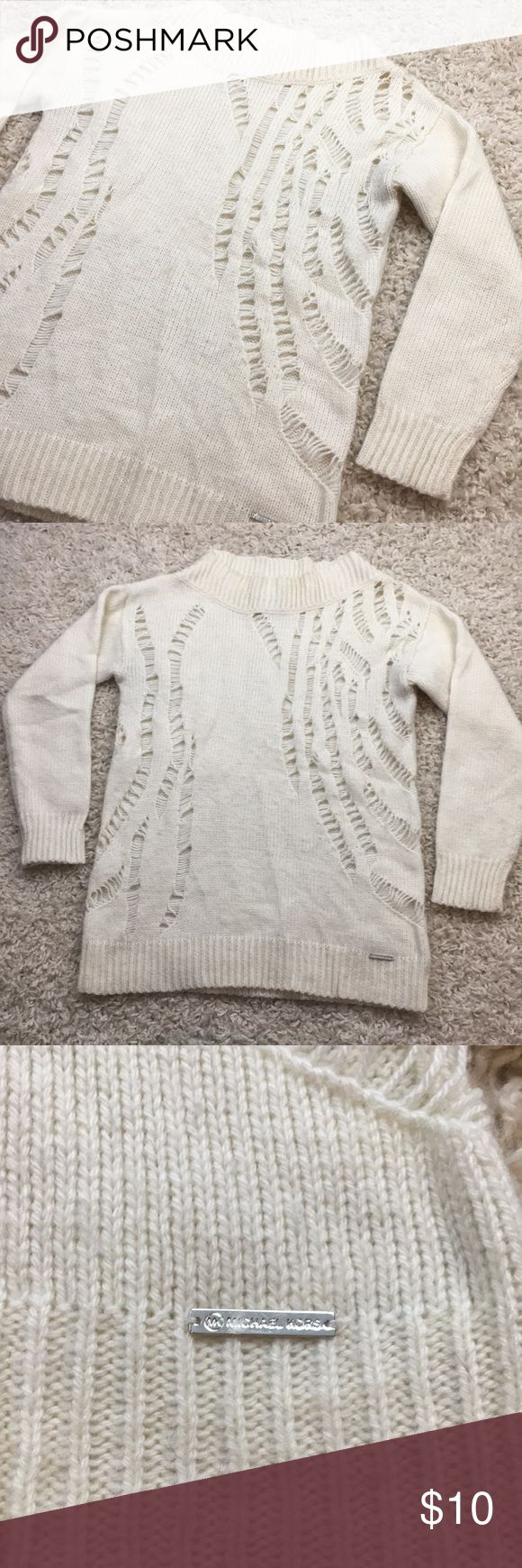 Michael Kors Wool Blend Sweater 🌲 This piece is from Michael Kors, and size small. Lovely ivory Knitted sweater with a wool blend fabric!  Overall this sweater is in good condition, though it does have some piling on the front. I am not able to locate my depiler but this is easily remedied if it is a bother!  No stains, rips or tears. Smoke free home!   All bundles get a shipping discount. ❤️ Michael Kors Sweaters Crew & Scoop Necks