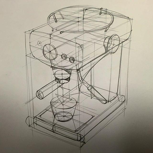정육각형을 삼점투시로 그려넣고 제품을 그리는 것이라고 배웠다. 무엇이든지 정육각형이 기본이라고 배웠다.