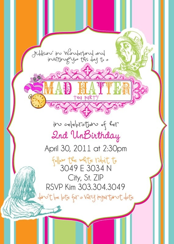 Bright Mad Hatter Tea Party themed birthday party invitation: Themed Birthday Parties, Theme Birthday Parties, Hatters Teas, Mad Hatters, Bright Mad, Tea Parties, Parties Theme, Teas Parties, Birthday Parties Invitations