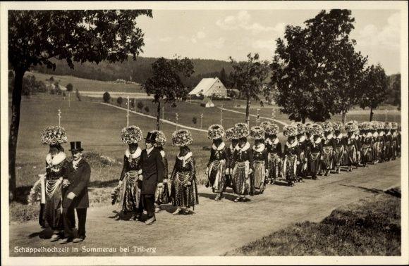 Ansichtskarte / Postkarte Sommerau St. Georgen im Schwarzwald Baar Kreis, Schäppelhochzeit, Trachten