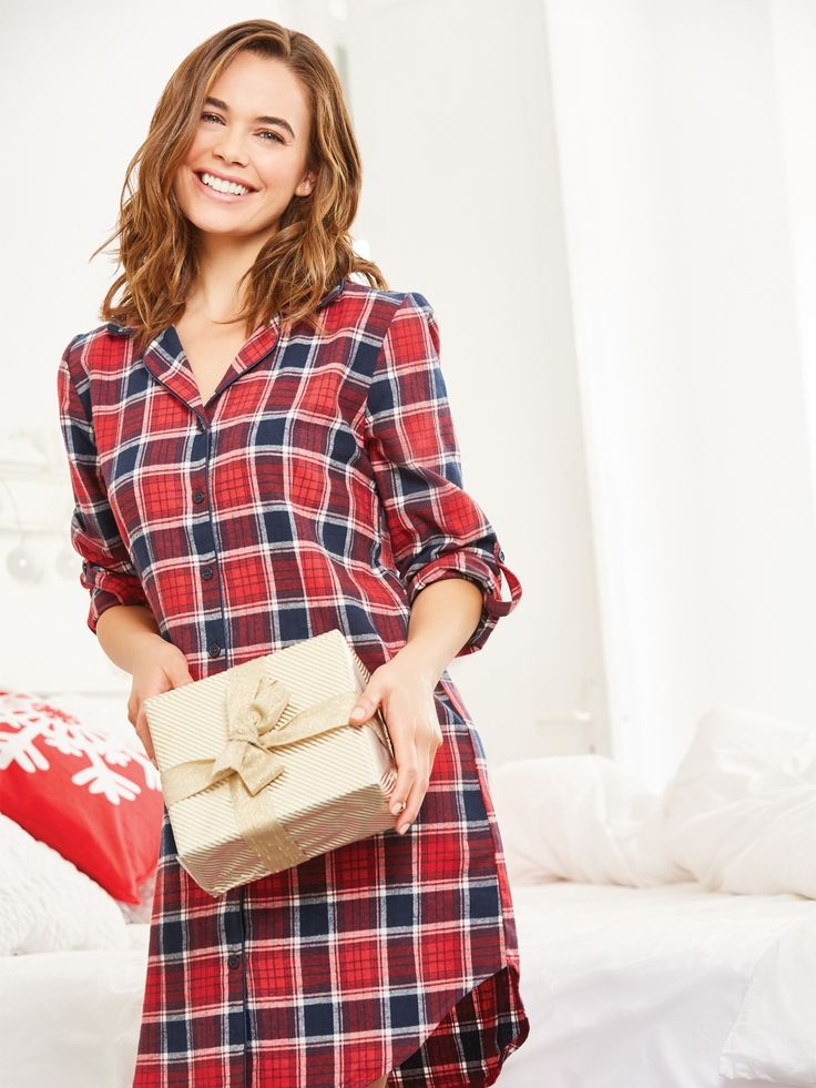 Z2018  Get ready for cosy nights in with this soft boyfriend style nightshirt with long sleeves, buttoned up front, a chest pocket and an all over print. Complete t...