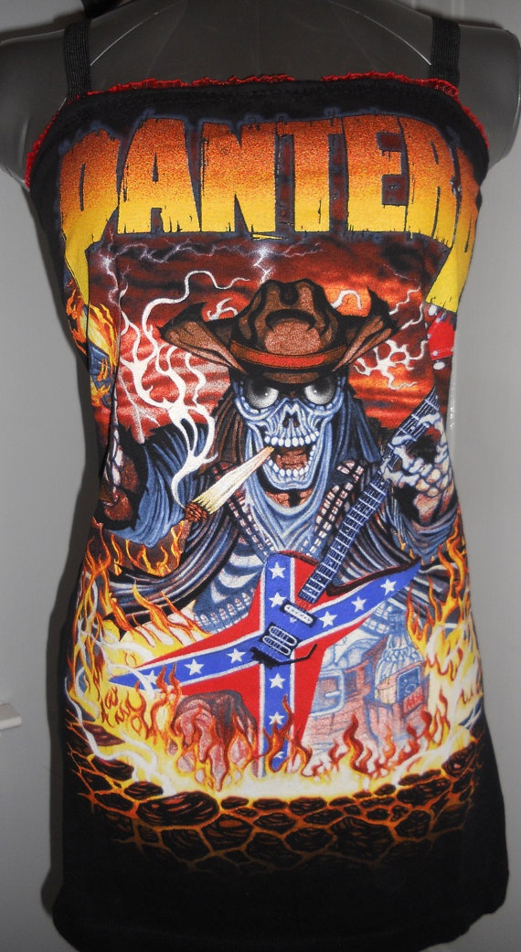 SOLD PANTERA LADIES BAND TANK TOP HEAVY METAL DIY UPCYCLED CLOTHING CRAFTS FOR FANS OF PHIL ANSELMO DIMEBAG DARREL DOWN COWBOYS FROM HELL. COME BUY ME! (WWW.ETSY.COM/SHOP/CHOPSHOPCLOTHING)