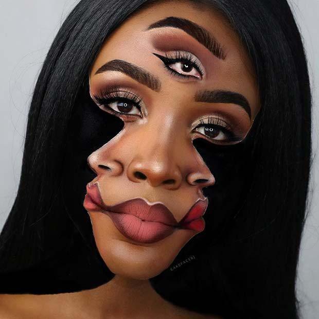 Trippy Illusion Makeup Looks For Halloween Halloweenmakeup Makeupartist Illusionmakeup Halloween Makeup Face Illusions Extreme Makeup