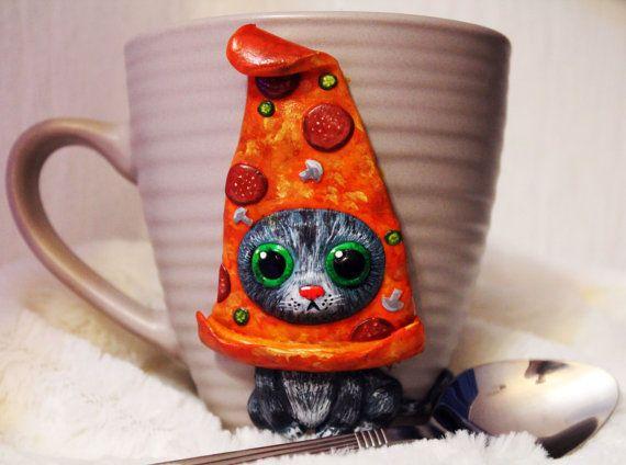 cat pizza mug with polymer clay decorative mug handmade