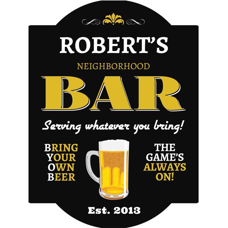 Home Bar Signs: BYOB Personalized Pub Sign