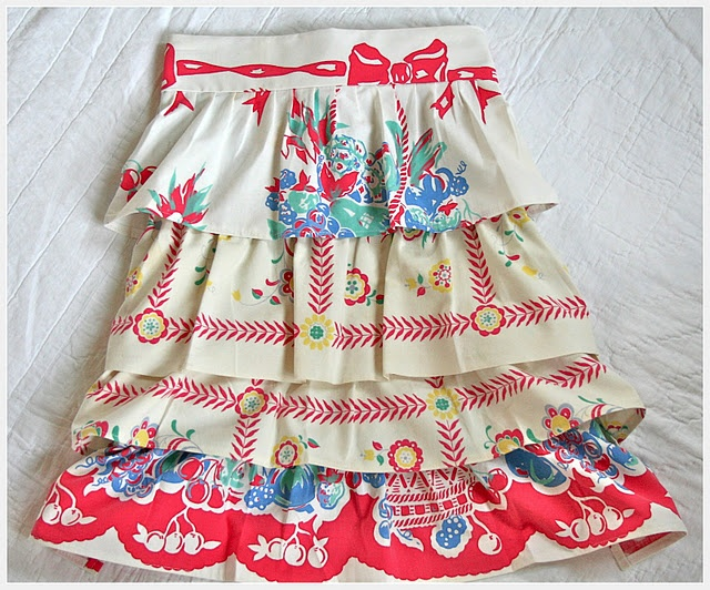Gorgeous handmade apron with one of a kind vintage linens